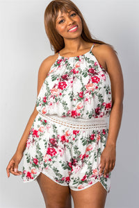 Ladies fashion plus size  floral print  romper