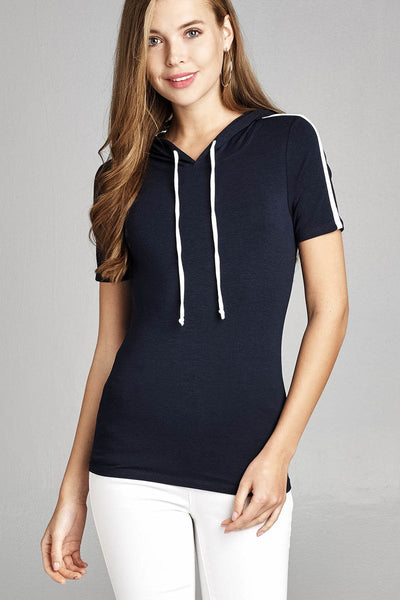 Ladies fashion short sleeve w/wide stripe drawstring hoodie cotton rayon spandex top