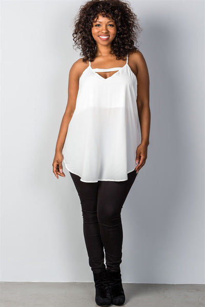Ladies fashion plus size white sheer front cut-out plus size top