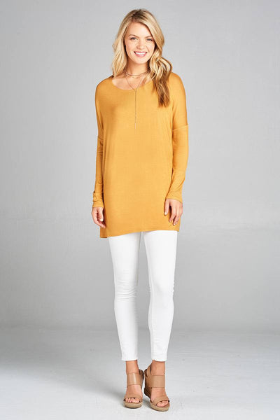 Ladies fashion long sleeve round neck rayon spandex jersey tunic top