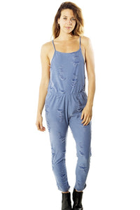 Ladies fashion distress overall jumpsuit romper