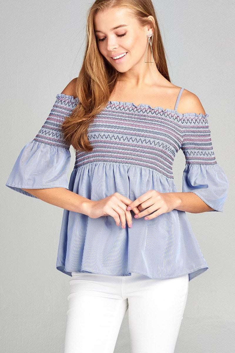 Ladies fashion short sleeve open shoulder w/special smoked stripe woven top