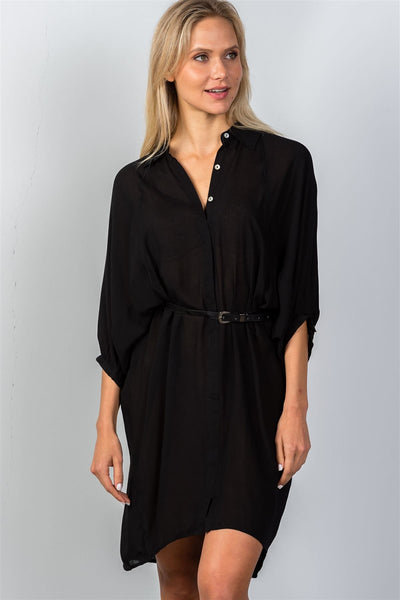 Ladies fashion button down front closure sheer batwing sleeves t-shirt belt included dress