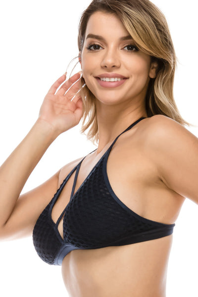 Ladies t-back strappy bralette with mesh overlay