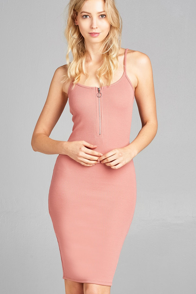 Ladies fashion front zipper detail poly spandex rib cami midi dress