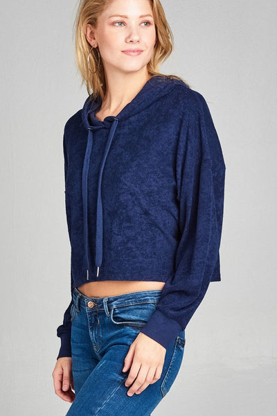 Ladies fashion plus size dropped long sleeve french terry hoodie top