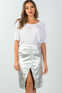 Ladies fashion mid length faux pockets  metallic front split midi skirt