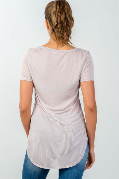Ladies fashion relax fit curved-hem scoop-neck tee