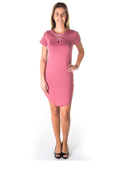 Ladies fashion round hem t shirt dress and lace up v neck