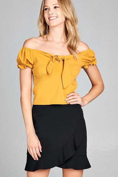 Short sleeve off the shoulder front heart neckline w/self tie top