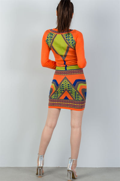 Ladies fashion long sleeve orange geo design sweater mini dress