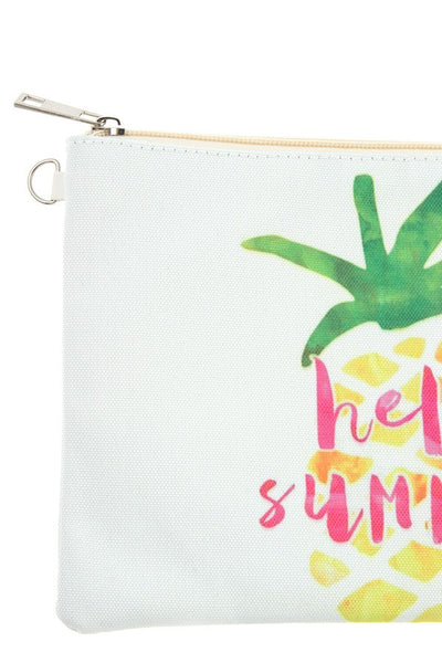 Hello summer pineapple pouch bag
