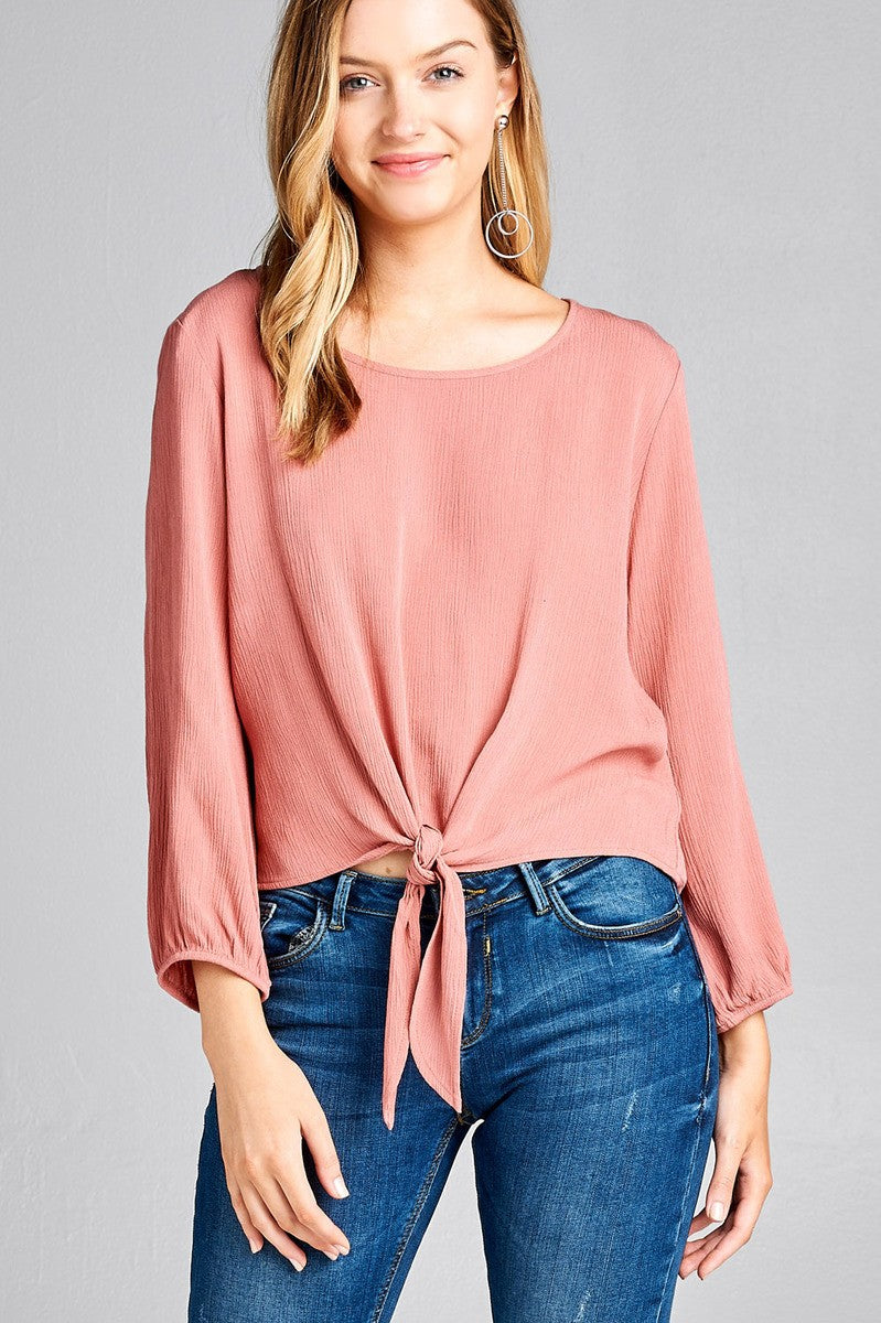 Ladies fashion long sleeve round neck front bow tie crinkle gauze woven top