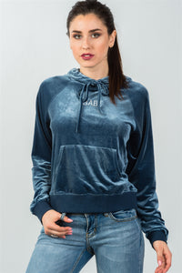 "Ladies fashion upper graphic embroider ""babe"" velvet hoodie"