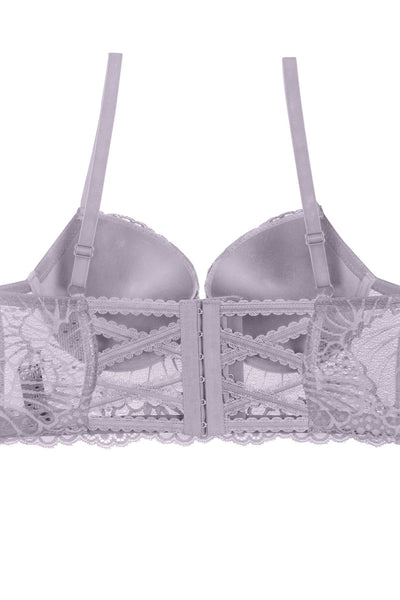 Ladies floral overlay long line bra w/underwire
