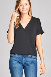 Ladies fashion short sleeve surplice v-neck rayon spandex crepe top