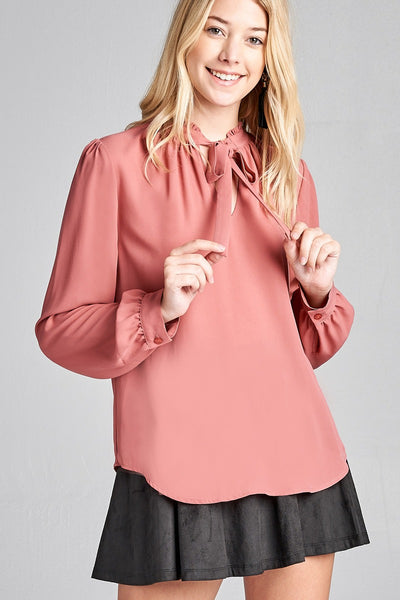 Ladies fashion long sleeve v-neck w/self tie detail wool dobby woven top