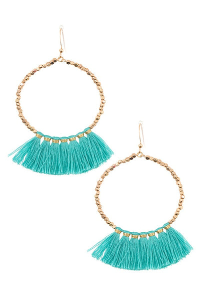 Ladies fashion round tassel link dangle earring