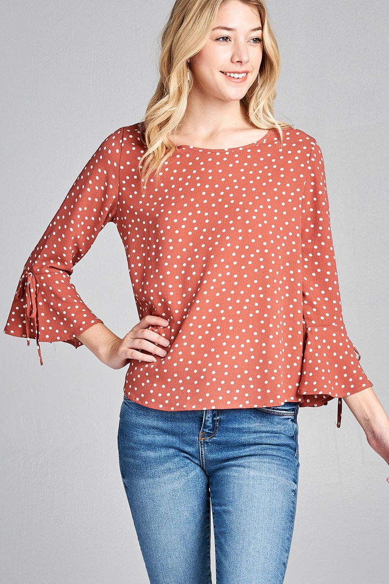 Ladies fashion 3/4 w/bell sleeve round neck dot print crepe woven top
