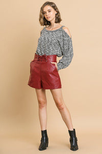 Vegan Leather High Waist Shorts