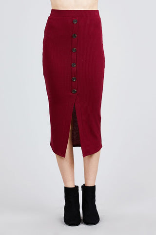 Front Button Detail Rib Midi Skirt