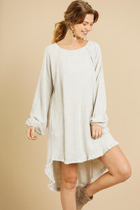 Linen Blend Long Puff Sleeve High Low Dress