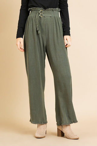 Linen High Waist Paperbag Wide Leg Pant