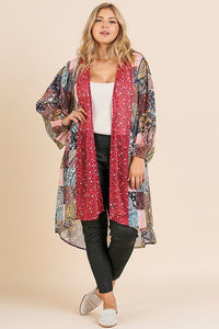 Sheer Animal Scarf Mixed Print Long Puff Sleeve Open Front Long Kimono