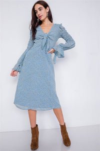 Minimalist Floral Tiered Cinched Puff Sleeve Midi Dress