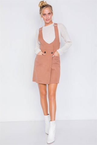 Mocha Vintage Front Button Mini Dress