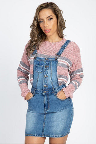 Button Front Overall Jean Dress