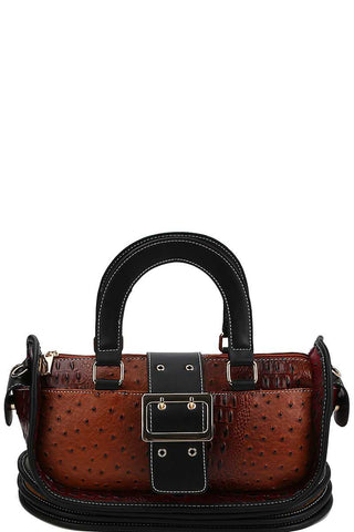 Buckle Accent Satchel With Long Strap