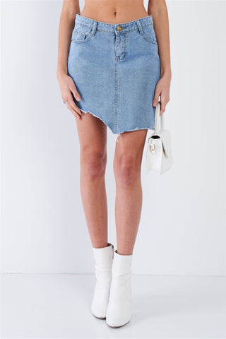 Asymmetrical Raw Cut Hem Mini Skirt