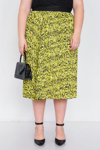 Plus Size Neon Yellow Pleated Animal Print Chic Midi Skirt