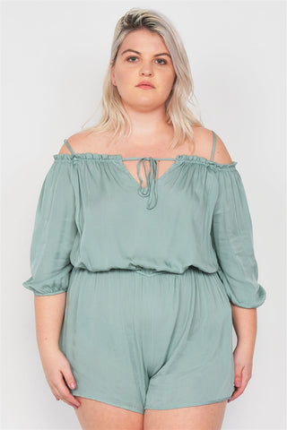 Junior Plus Size Cold Shoulder Keyhole Romper