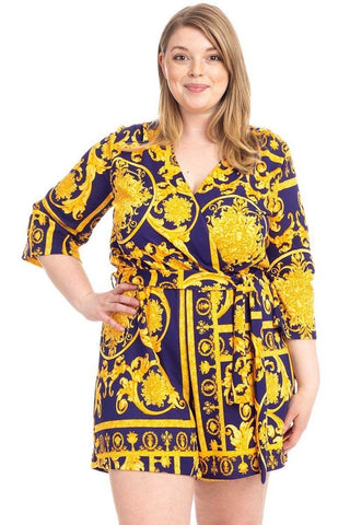 Plus Size Baroque Print V-neck Romper-