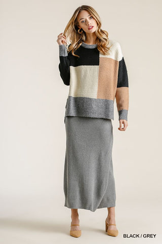 Colorblock Contrasted Top With Side Slits And High Low Hem
