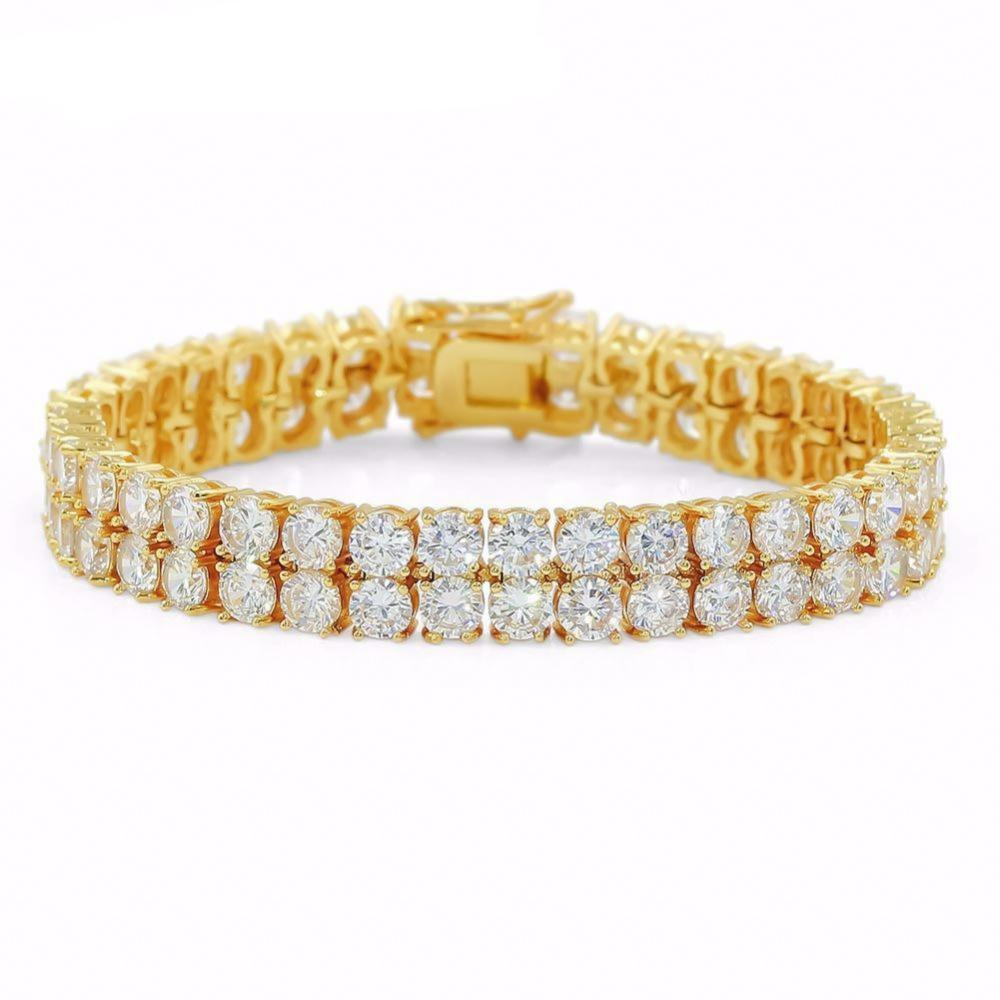 14k Gold Double Layer Tennis Bracelet - High Crown - Jewelry store