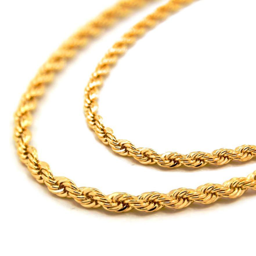 6mm Yellow Gold Dookie Rope Chain - High Crown - Jewelry store