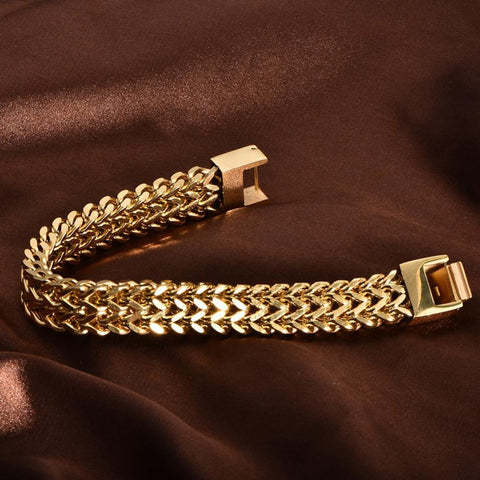 14k Gold Double Franco Bracelet - High Crown - Jewelry store