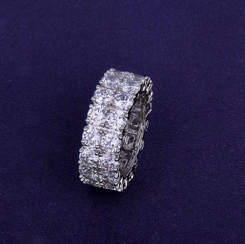 Two Row Solitaire 18K CZ Diamonds Ring - High Crown - Jewelry store