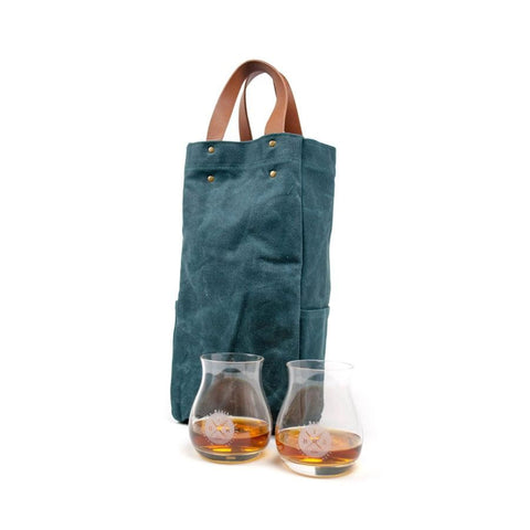 Waxed Canvas Tote Bag with Two Widemouth Glencairn Glasses