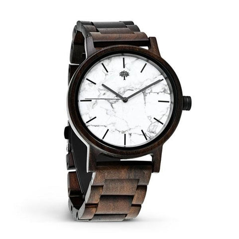 Wood Watch with White Marble Face