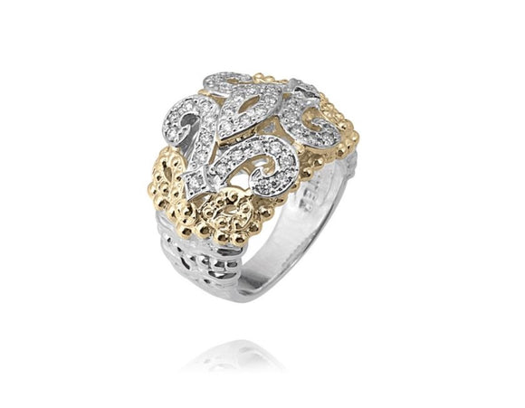 VAHAN JEWELRY | Scroll Ring set in Sterling Silver & 14K Yellow Gold | 0.39cttw Diamonds