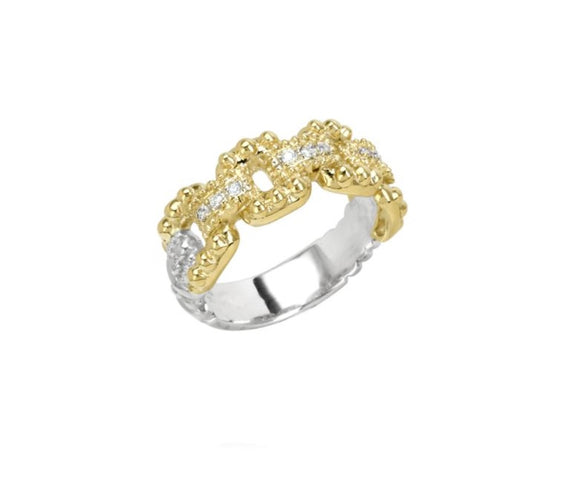 VAHAN JEWELRY | Buckle Link Ring in Sterling Silver & 14K Yellow Gold | 0.07cttw Diamonds