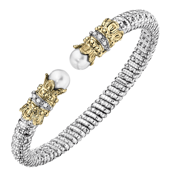 VAHAN | Sterling Silver & 14K Gold | 0.12cts of Diamonds & 2 White Pearls | 6 mm Width