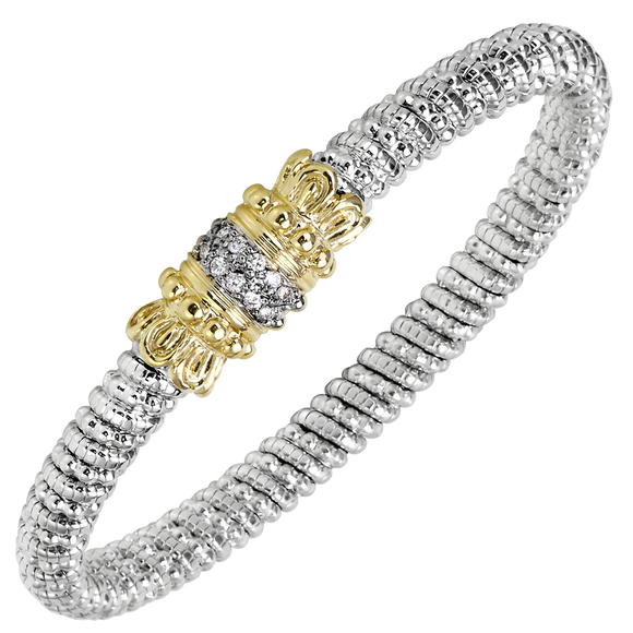Buy Vahan Bracelet ~ Sterling Silver & 14K Gold ~ 0.18cttw Diamonds ~ 6mm Width | Shop Avonlea Jewelry only at Avonlea Jewelry.