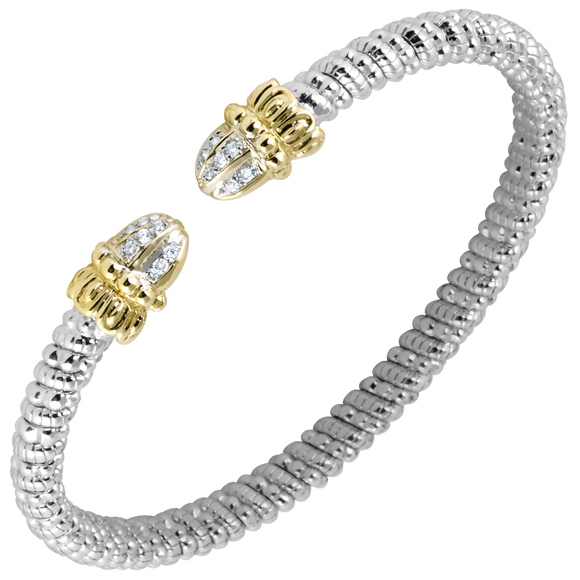 VAHAN Bracelets: Vahan Jewelry for Women: Vahan Sterling Silver and 14K Yellow Gold with 0.11cttw Round-Cut Diamonds (G-H Color, VS2-SI1 Clarity) 4mm Wide Bangle