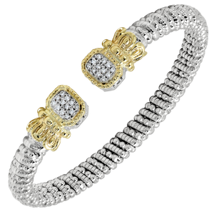 Vahan Bracelet ~ Sterling Silver & 14K Gold ~ 0.18cttw Diamonds ~ 6mm Width