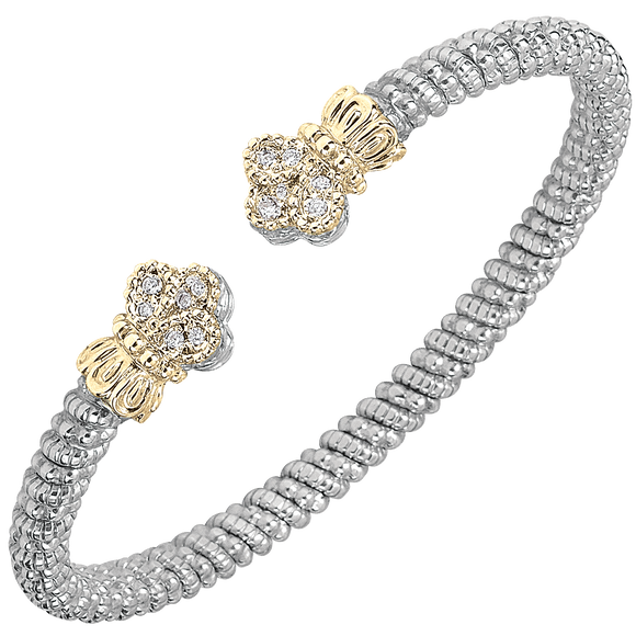 Buy VAHAN Sterling Silver & 14K Gold - 0.12cttw Diamonds - 4 mm Width | Shop Avonlea Jewelry only at Avonlea Jewelry.